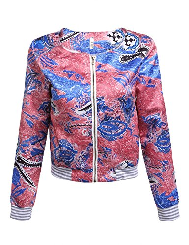 ZEARO Retro Damen Jacke Blazer Anzug Blumen Schlank ZIP Up Jacket Outwear Mantel - 2
