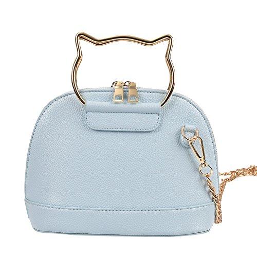 WTUS Damen Neue Shell Kette Kätzchen Bonbonfarbenen Rucksack Weibliche Beutel PU Volltonfarbe Umhängetasche Beuteltote Handtaschen Blau