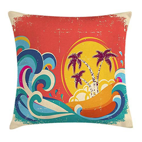 ii Throw Pillow Cushion Cover, Vintage Old Paper Style Tropical Island with Giant Waves Retro Background, Decorative Square Accent Pillow Case, 18 X 18 Inches, Multicolor ()