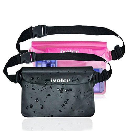 [2 Stücke] iVoler Wasserdichte Tasche Hülle mit Verstellbarer und Extra Langer Gurt, 100% Wasserdichte Beutel Tasche Handyhülle Schutzhülle Strand für Smartphones, iPad, Kamera etc. (Schwarz+Rosa) -
