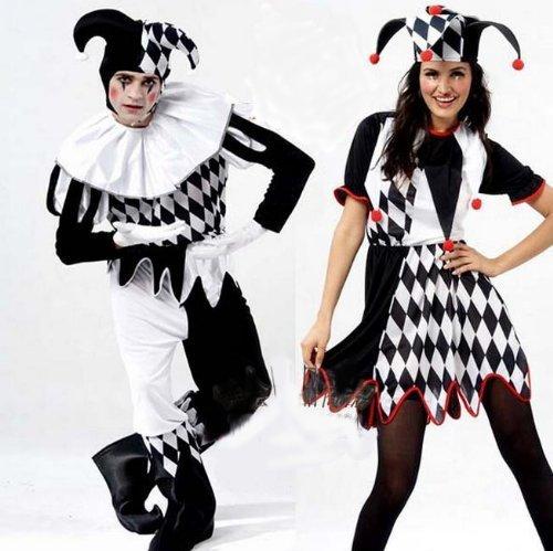 Erste cosplay eingestellt vier Punkte mit Brille Joker Clown-Kostüm / Männlich Weiblich für clown Cosplay Kostüm (4-teiliges Set für (Joker Kostüm Weibliche Cosplay)