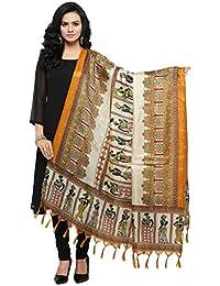 Salwar Studio Women's Mustard & Beige Jute Silk Printed Dupatta(OM-0031450_Free Size)