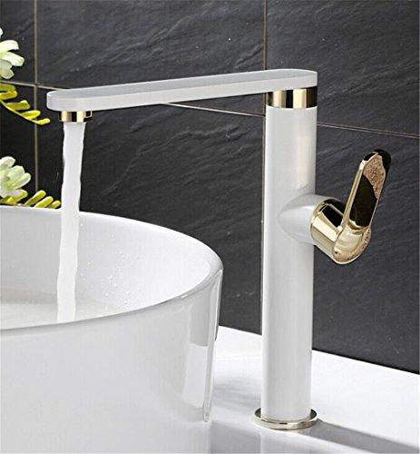 Hlluya Wasserhahn für Waschbecken Küche Das Kupfer warmes und Kaltes Wasser Waschbecken Armatur Küchenarmatur mit Zwei schwenkbaren weiß lackiert Wasseranschluß
