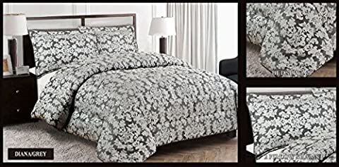 Diana 3PC Jacquard Quilted Bedspread Comforter Bedding Set With 2 Pillow Cases Double & King Size (King, Grey)