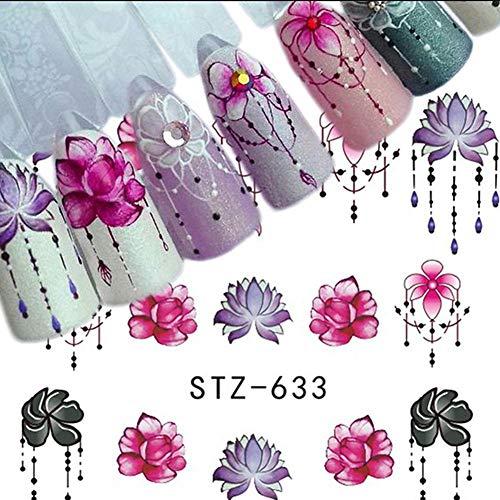 40pcs Nagel-Aufkleberblumen, Nagel-Kunst-Aufkleber-Blumenblatt-Tinten-Anhänger-Schmetterlings-Katzen-Formnagelkunstentwurf für Frauenmädchenkinder