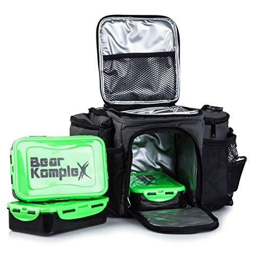 Mahlzeit Prep Lunch Tasche: isoliert, groß, 6 fach Lunchbox Kühler Tote mit 3 Lebensmittel Prep to go Box Behälter, 2 Kühlakkus und strapazierfähig Gurt - Teil Kontrolle Tragetaschen für Erwachsenen (Boxen-tasche)