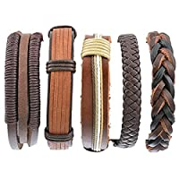 HOUSWEETY 5PCs Women Men Bracelet Set Bangle Rope Leather Multi Strands Adjustable Wrap Bracelets