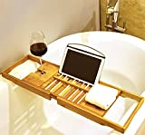 Premium Bamboo Bath Tray by Harcas. Gorgeous Extendable Bathtub Caddy with Wine Rack and iPad Holder/Book Rest. Perfect for Relaxing in the Bath While Winding Down For The Day. Fits Most Bathtubs