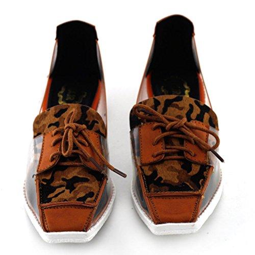 Spectacle histoire Leopard Print Clear Lace-up Square Toe bas talons chaussures tout-aller, QT78F12 Marron