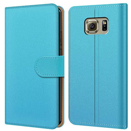 Conie BW34626 Basic Wallet Kompatibel mit Samsung Galaxy S6 Edge, Booklet PU Leder Hülle Tasche mit Kartenfächer und Aufstellfunktion für Galaxy S6 Edge Case Hellblau