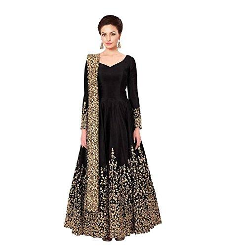Ethnic Empire Women Silk Anarkali Semi-Stitched Wedding Salwar Suits For Women (EE_FlexER10457_Blue_Free...