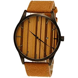 """Henny Klein designer Herren Öko Natur Armbanduhr mit Holz Ziffernblatt Uhr Datum Schwarz """"limitierte edition"""" inkl Uhrenbox"""