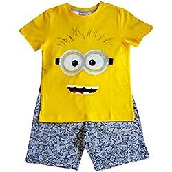 Camiseta y pantalón amarillo y gris de Despicable Me Minion Kids Boy Set para niños de 6, 8 y 10 años (10 Años)