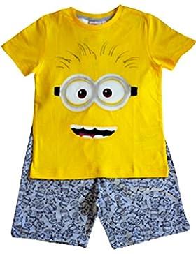 Camiseta y pantalón amarillo y gris de Despicable Me Minion Kids Boy Set para niños de 6, 8 y 10 años