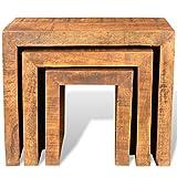 vidaXL 3x Beistelltisch Couchtisch Nachttisch Satztisch Set Massivholz Mango Vergleich