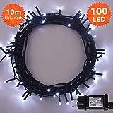Weihnachts-Lichterketten 100 LED Helle weiße Baum-Lichter Innen- und im Freiengebrauch Weihnachtsschnur-Lichter Gedächtnisfunktion, Netzbetriebene - Grünes Kabel