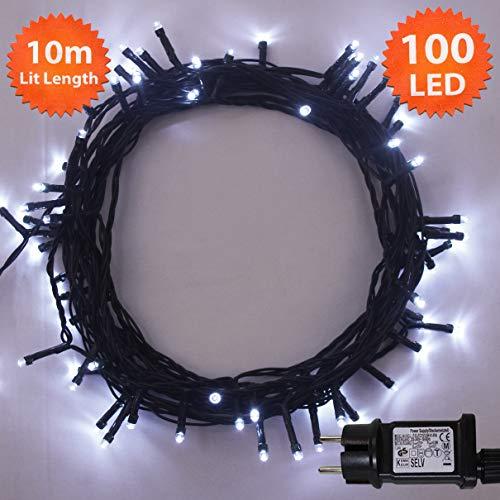 Lichterkette Weihnachtsbeleuchtung außen 100 LED Helle weiße innen led lichterkette weihnachtsbaum Gedächtnisfunktion, Netzbetriebene 10m Lit-Länge- Grünes Kabel