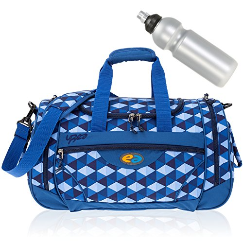 2 Teile SET: YZEA Sporttasche SPORTS by Take it Easy 29016 + Trinkflasche CO2 (WAVE 630 (blau orange)) CLOUD 627 (dunkelblau karo)