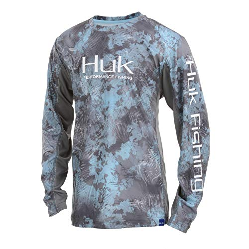HUK Jungen Youth Icon Camo Long Sleeve Shirt Langärmelig, SubPhantis Glacier, X-Large (Camo Long Sleeve)