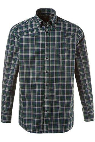 JP1880 Herren große Größen | Karo - Hemd | Buttondown-Kragen, Brusttasche, Langarm | bis Größe 7XL | 706522 Dunkelgrün