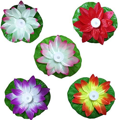 SODIAL 5 Farbige Led Bunte Lotus Lampe Creek Wunsch Lampe Lotus Schwimmende Blume Geformte Lampe Elektronische Kerze Lotus Lampe Geeignet für Frei Bad -