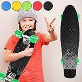 Physionics Penny Skateboard | 22' (57cm), Rodamientos ABEC 5, Color a Elegir, Máx. 100kg | Monopatín Retro, Skateboard Retro, Cruiser Retro - Negro
