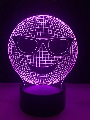 Zcmzcm 3D Nachtlichter Dekorative Beleuchtung Kabel 3D Led Usb Cool Wear Sonnenbrille Geformt Schlafzimmer Nachtlicht Multicolor Tischlampe Freunde Geschenke