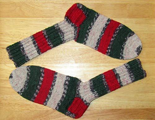 Selbstgestrickt/Handgemacht/Socken/Wollsocken/Gr. 38-39 / Damen/Herren/Wintersocken/Warme Socken/Ferner Wolle / 6 fach -