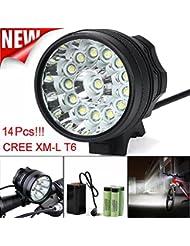 Linterna LED, Xinan 34000LM 14 x CREE XM-L T6 LED 6 x 18650 Ciclismo en bicicleta Ligero Lámpara impermeable Antorcha Negro