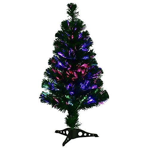 GOPLUS Albero di Natale PVC Verde con Luci a Fibre Ottiche Colorate Supporto di Plastica 90-180cm (90)