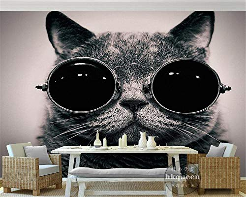 Tapete Europäische Kleidung Sonnenbrille Katze Nettes Spiel Coole Kinderzimmer Hintergrundwand 3D Wallpaper -200 * 140Cm