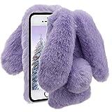 Herzzer Fourrure Violet Paillette Coque pour iPhone 5S, Hiver Chaud Soft Etui...