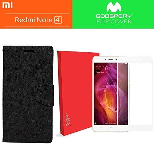 Like It Grab It Xiaomi Redmi Note 4 / mi redmi note 4 / Redmi Note 4 (COMBO OFFER) Wallet Style Flip Cover Case for Xiaomi Redmi Note 4 + Premium 2.5D Curved Hardness Tempered Glass screen protector (Black-White)