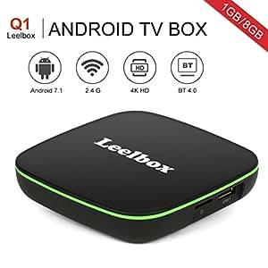 Leelbox 2018 Nuovissimo Q1 Android TV Box 1GB/8GB Android 7.1 TV Smart TV Box Con BT 4.0 Supporto 4K (60Hz) Full HD /H.265 /WiFi