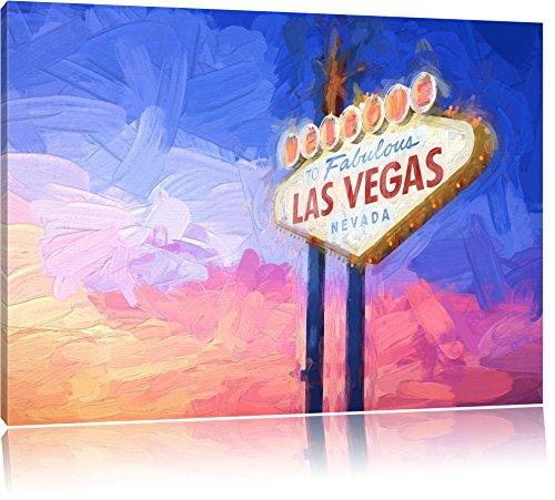 cooles Las Vegas Schild Format: 120x80 auf Leinwand, XXL riesige Bilder fertig gerahmt mit Keilrahmen, Kunstdruck auf Wandbild mit Rahmen, günstiger als Gemälde oder Ölbild, kein Poster oder Plakat