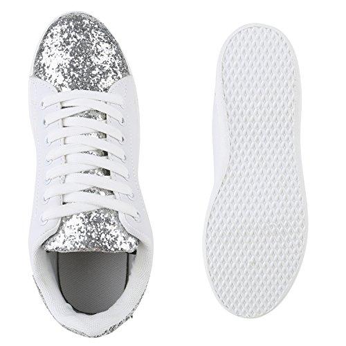 325bbbd6885e15 Sportliche Damen Sneakers Sneaker Low Metallic Lack Turnschuhe Muster  Glitzer Retro Flats Schnürer Animalprints VelourslederOptik Silber Silber  Glitzer