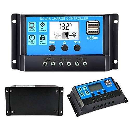 Y&H 30A Solarladeregler 12V/24V Solarpanel-Controller Auto-Parameter einstellbar LCD-Display Solarpanel Batterie-Regler mit Dual-USB