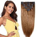 Clip in extensions echthaar Doppelt Tressen 100% Remy Echthaar 8 teiliges set Haarverlängerung dick (30cm-115g,#6 Mittelbraun)