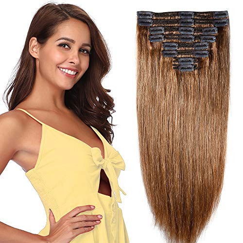 Extension capelli veri clip double weft 8 fasce remy human hair xxl full head set lisci lunga 40cm pesa 130g, #6 castano