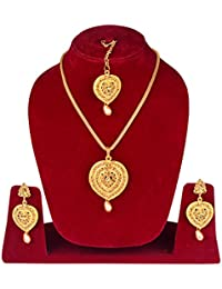 Indian Festival Gifts Collection Traditional Ethnic Gold Plated Designer Pendant Set For Women And Girls (PSET00B1)