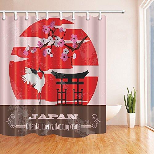 Japan Decor Dusche Vorhänge von gohebe Oriental Cherry Tree und Dancing Crane Bad Vorhänge 180,3x 180,3cm (Star-dusche Vorhang-set)