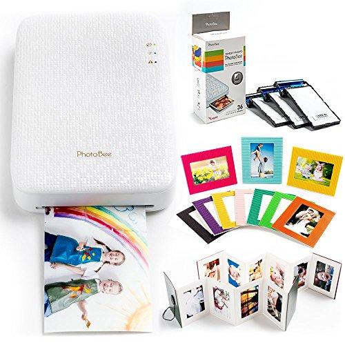 PHOTOBEE Paquete Familiar de Impresora de la Foto (con 48 Hojas de Papel fotográfico con pegajoso, 2 álbumes Plegables, 10 Marcos de Fotos de Color)