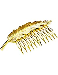 Beautiful Elegant Golden Leaf Fancy Metal Hair Comb For Girls And Womens Party Wear High Quality Comb Beautiful Design. No hair damage High Grip Comb.