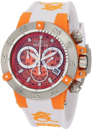 Invicta Ladies Subaqua Noma III Chronograph Watch 0942 with Orange Dial and White Silicon Strap