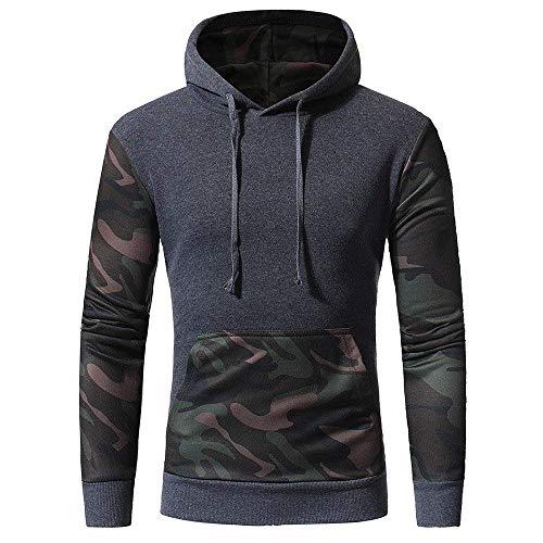 Qiusa Herren Camouflage Langarm Camouflage Print Hooded Sweatshirt Tops Jacke Mantel Outwear (Farbe : Grau, Größe : CN MUK 10) - Hooded Zip Vorne Pullover Strickjacke