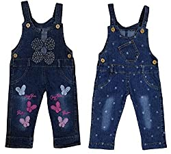 Miss U Girls Wear High Quality Soft Applique Overall Jumper Pants Romper Playsuit Denim Dungaree (19 (4-5 Years), BUTERFLY STAR)