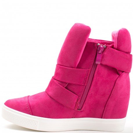 Ideal Shoes - Baskets montantes semi-compensées Vanite Fuchsia