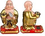Wackelnde Solarfigur Buddha Wackelfigur Wackelkopffigur Tempel Buddhismus Deko