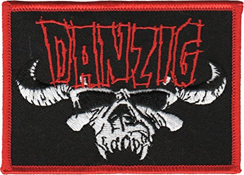 DANZIG SKULL WITH LOGO, Officially Licensed, Iron-On / Sew-On, Embroidered PATCH (Betsy Ross Hat)