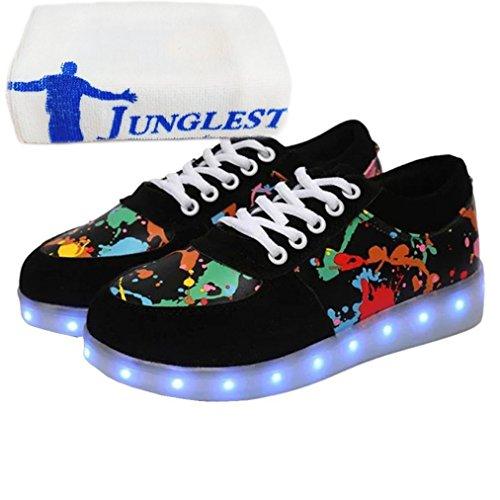 [Present:kleines Handtuch]JUNGLEST® Schwarz 7 Farbe Unisex LED-Beleuchtung Blink USB-Lade Turnschuh-Schuhe c33